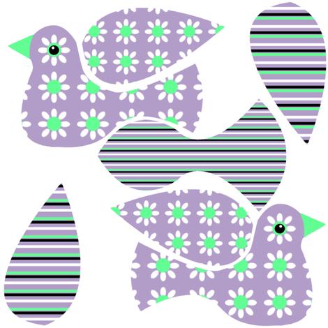 Floral Bird Mini Cut & Sew fabric by nezumiworld on Spoonflower - custom fabric