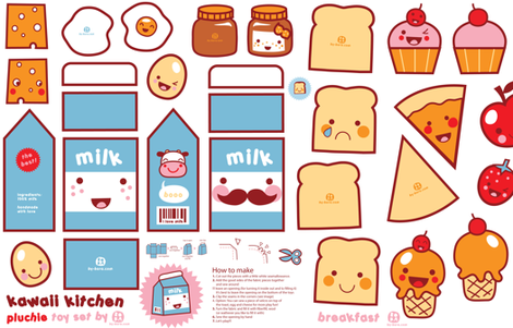 Kawaii Kitchen - plushie toy set fabric by bora on Spoonflower - custom fabric