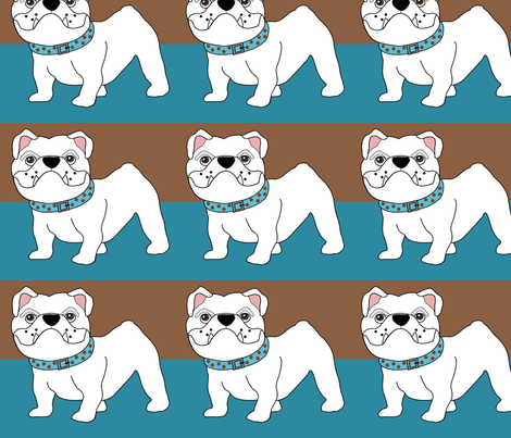 Victor the Little White Bulldog  fabric by missyq on Spoonflower - custom fabric