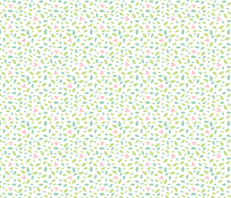 Baby Woods_Hearts and leaves fabric by dzynchik on Spoonflower - custom fabric