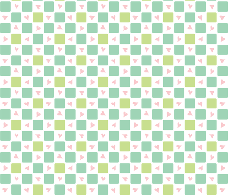Baby Woods_Checks and hearts fabric by dzynchik on Spoonflower - custom fabric