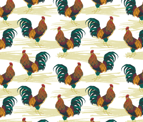 Rooster fabric by marlene_pixley on Spoonflower - custom fabric