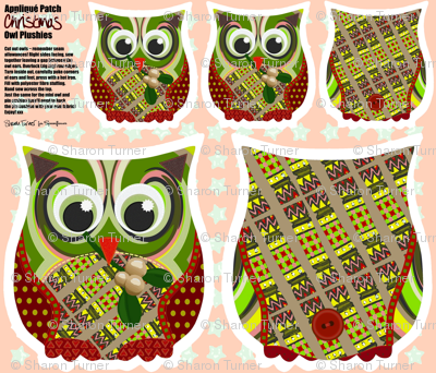 Christmas Appliqué Patch Owl Plushies