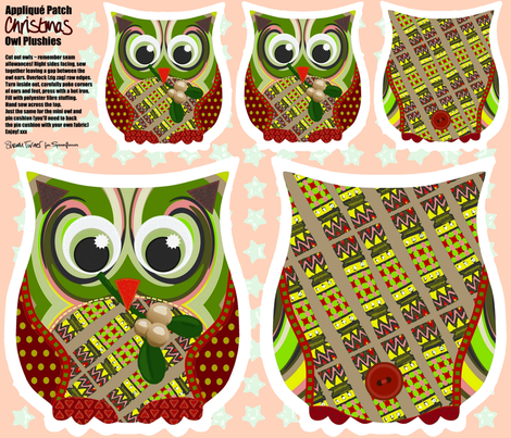 Christmas Appliqué Patch Owl Plushies fabric by scrummy on Spoonflower - custom fabric