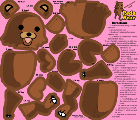 Pedo Bear Plushie fabric by terridee on Spoonflower - custom fabric