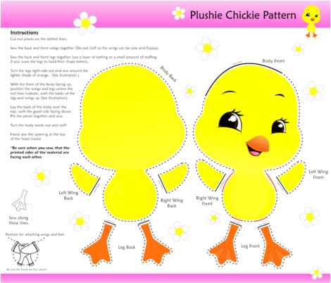 Plushie Pattern Chickie fabric by jbhorsewriter7 on Spoonflower - custom fabric