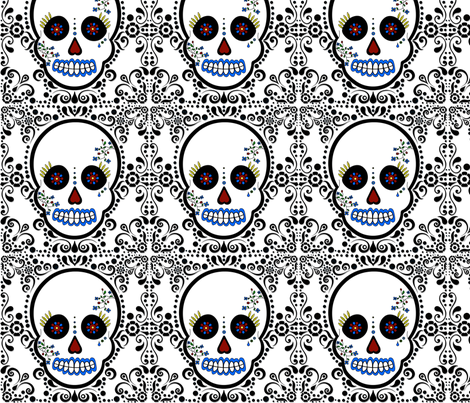 Day of the Dead - Día de los Muertos - Sugar Skull Print fabric by jsdesigns on Spoonflower - custom fabric