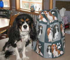 Cavalier Spaniels Fabric In blue