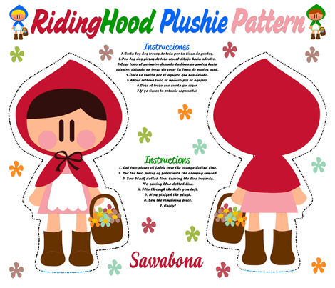 Ridinghood_plushie_pattern_COLOR fabric by sawabona on Spoonflower - custom fabric