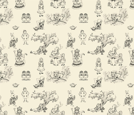 Alice in wonderland toile in Cream and Black fabric by mytinystar on Spoonflower - custom fabric