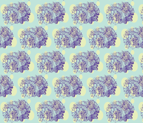 Dotty Hydrangea (lime & sea glass) fabric by pattyryboltdesigns on Spoonflower - custom fabric