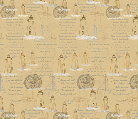 Lighthouses & Sailboats 4_reverse_ fabric by petals_fair on Spoonflower - custom fabric