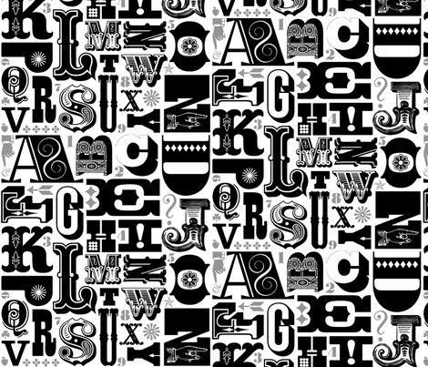 Woodtype Alphabet - Black & Gray fabric by pennycandy on Spoonflower - custom fabric