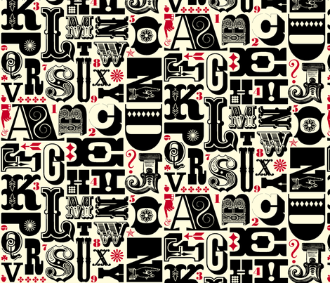 Woodtype Alphabet - Black & Red fabric by pennycandy on Spoonflower - custom fabric