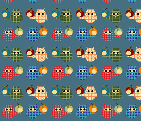 owl_print_blue-ed fabric by krihem on Spoonflower - custom fabric