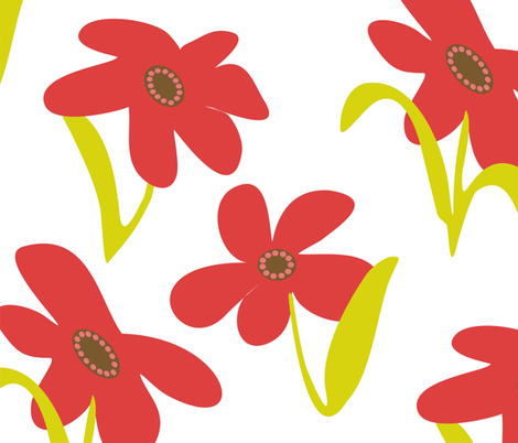 Large Scale Floral fabric by lulakiti on Spoonflower - custom fabric