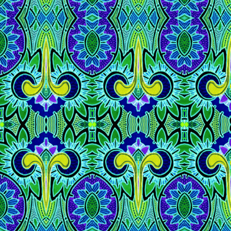 Nouveau Deco Daffodilly (blue/green) fabric by edsel2084 on Spoonflower - custom fabric