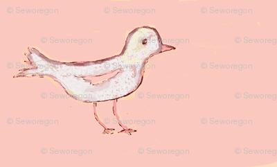White Bird on Peachy/Pink
