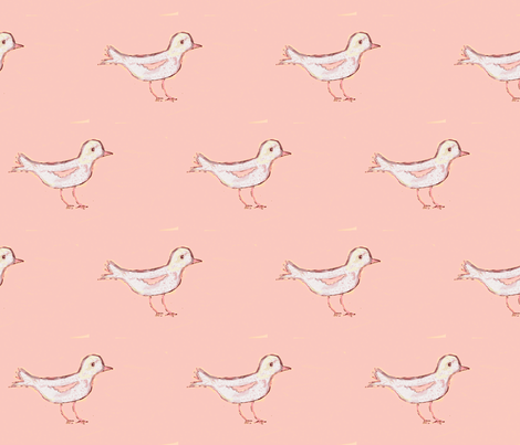 White Bird on Peachy/Pink fabric by seworegon on Spoonflower - custom fabric