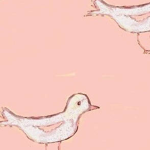 White Bird on Peachy/Pink