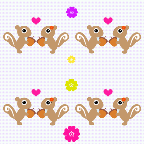 Squirrels First Love - Summer Fun! - © PinkSodaPop 4ComputerHeaven.com fabric by pinksodapop on Spoonflower - custom fabric