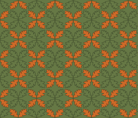 Sage & Pumpkin Oak Leaves fabric by pantsmonkey on Spoonflower - custom fabric
