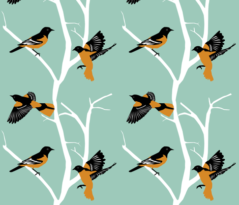 Orioles fabric by kaeledra on Spoonflower - custom fabric