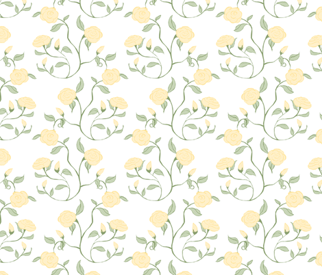 Pastel Roses on White fabric by pond_ripple on Spoonflower - custom fabric