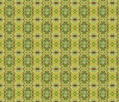Floral Whimsical Floral Spring Fabric, green, yellow, brown fabric by mariannemathiasen on Spoonflower - custom fabric