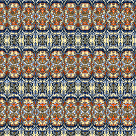 Nouveau Bijou (tan / orange/ blue) fabric by edsel2084 on Spoonflower - custom fabric