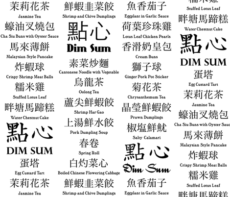 Chinese / English Dim Sum menu (B&W) fabric by weavingmajor on Spoonflower - custom fabric