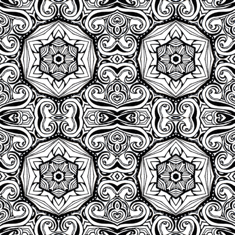 Monochrome Kaleidoscope - 6B fabric by beth_ann_williams on Spoonflower - custom fabric