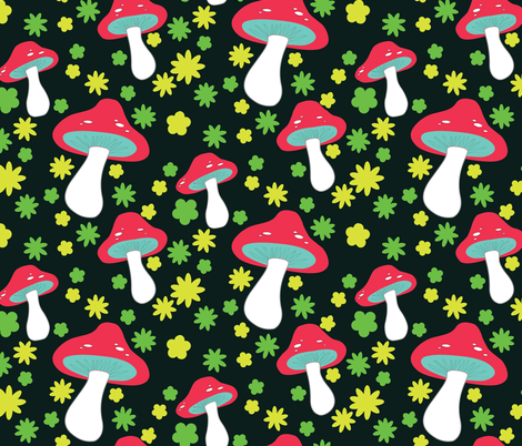 mushrooms on black fabric by mossbadger on Spoonflower - custom fabric