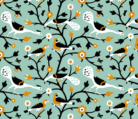 Persian Birds 612a fabric by muhlenkott on Spoonflower - custom fabric