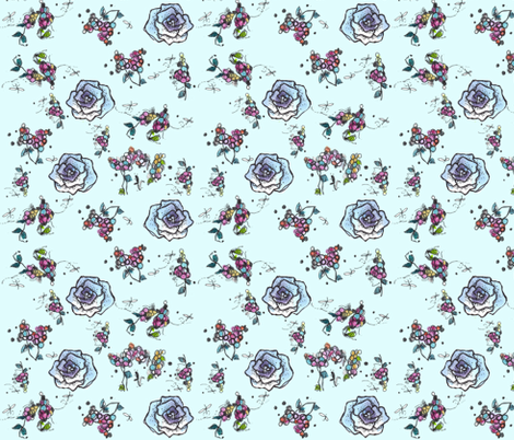 Blue Roses and Berries fabric by countrygarden on Spoonflower - custom fabric