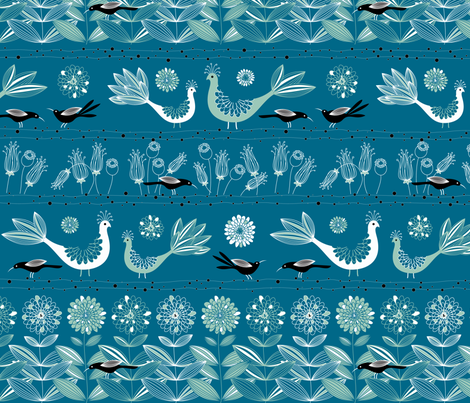 Blackbird Blue fabric by kayajoy on Spoonflower - custom fabric