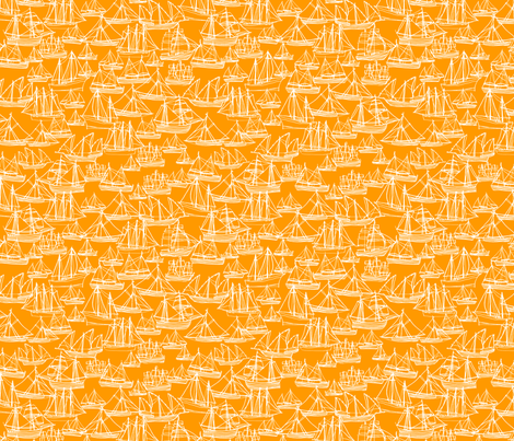 Sailing Ships - Melon fabric by laurenhunt on Spoonflower - custom fabric