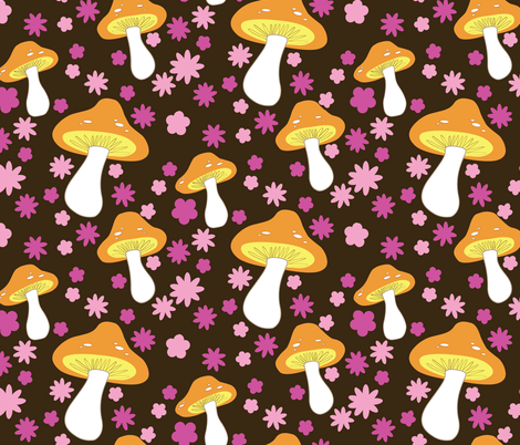mushrooms (brown) fabric by mossbadger on Spoonflower - custom fabric