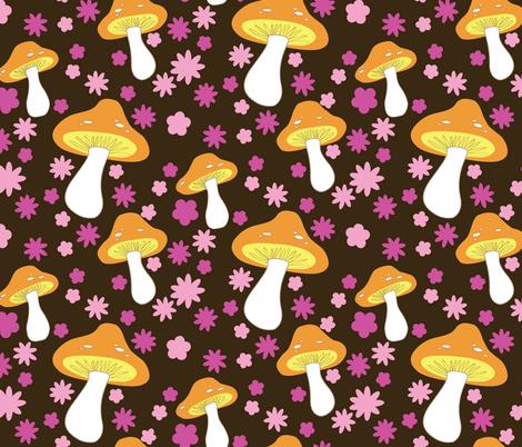 mushrooms (brown) fabric by mossbadger on Spoonflower - custom fabric