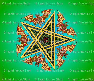 Celtic Bats Star Mandala on green