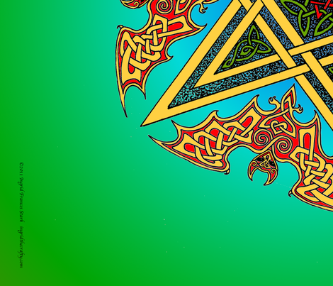 Celtic Bats Star Mandala on green fabric by ingridthecrafty on Spoonflower - custom fabric