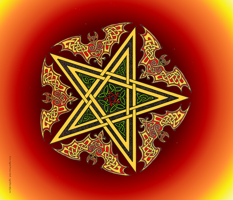 Celtic Bats Star Mandala on flame reds Small fabric by ingridthecrafty on Spoonflower - custom fabric