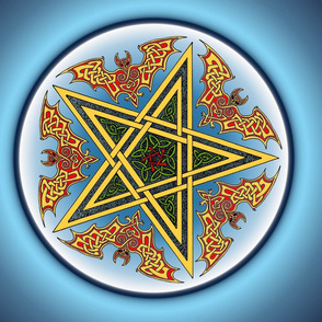 Celtic Bats Star Mandala on blue Small