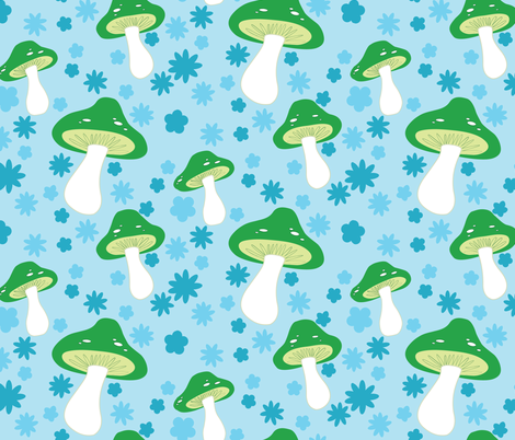 mushrooms (sky) fabric by mossbadger on Spoonflower - custom fabric