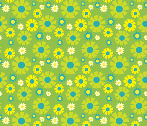 wallpaper flower  (green) fabric by mossbadger on Spoonflower - custom fabric
