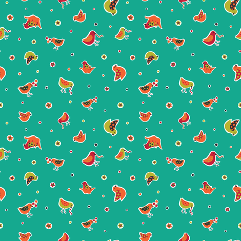 Happy Ditsy Birds fabric by gracedesign on Spoonflower - custom fabric