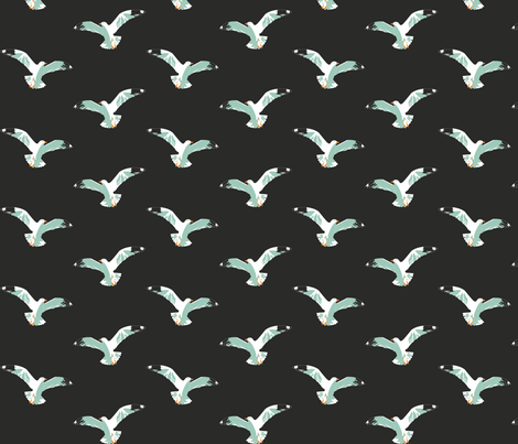 Seagulls at night fabric by candyjoyce on Spoonflower - custom fabric