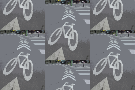 Bike Lane, Paris, France   fabric by susaninparis on Spoonflower - custom fabric