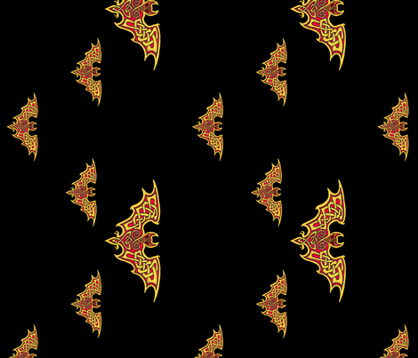 Celtic Bats on Black fabric by ingridthecrafty on Spoonflower - custom fabric