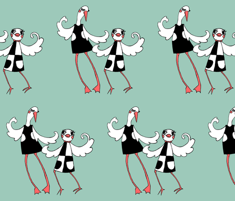 A Pair of Mod Birds out on the town fabric by beesocks on Spoonflower - custom fabric